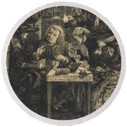 Dr Johnson At The Mitre Round Beach Towel