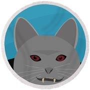Dracula Cat Round Beach Towel
