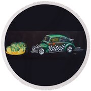 Drag Racing Vw Round Beach Towel