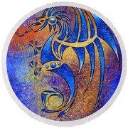 Dragissous V1 - Blue Dragon Round Beach Towel