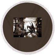 Dragon And Castle Round Beach Towel