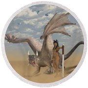 Dragon And Master Round Beach Towel