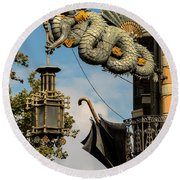 Dragon And Umbrella Sing In Barcelona Round Beach Towel