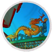Dragon At The Gate Round Beach Towel