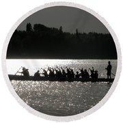 Dragon Boat Silhouette Round Beach Towel by Stuart Turnbull