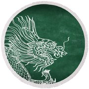 Dragon On Chalkboard Round Beach Towel by Setsiri Silapasuwanchai