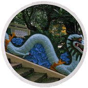 Bao Tang Temple Railing In Ho Chi Minh City Round Beach Towel