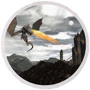 Dragon Scenery - 3d Render Round Beach Towel