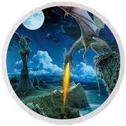 Dragon Spit Round Beach Towel by The Dragon Chronicles - Robin Ko