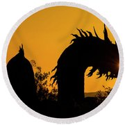 Dragon Sunrise 1 Round Beach Towel