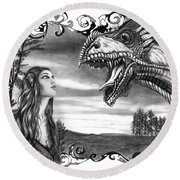 Dragon Whisperer  Round Beach Towel