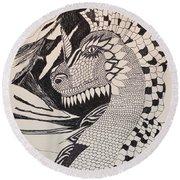 Dragon - Zentangle 16-04 Round Beach Towel