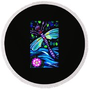 Dragonfly And Water Lily Round Beach Towel
