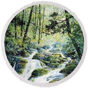 Dragonfly Creek Round Beach Towel