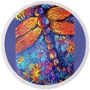 Dragonfly F Round Beach Towel