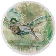 Dragonfly Round Beach Towel by Gustave Moreau