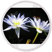 Dragonfly Lily Round Beach Towel