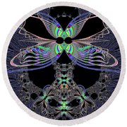 Dragonfly Queen At Midnight Fractal 161 Round Beach Towel