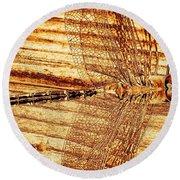 Dragonfly Sepia Round Beach Towel