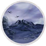 Dragons In Their Element. Round Beach Towel by Cynthia Adams