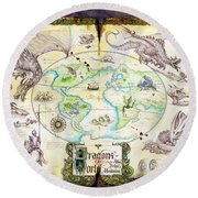 Dragons Of The World Round Beach Towel