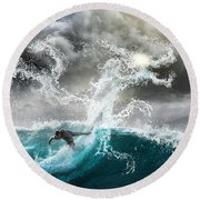 Dragon's Soul Surfer Round Beach Towel