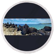 Dragons Teeth Round Beach Towel