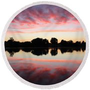 Drama In Red Round Beach Towel