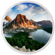 Drama Of The Canadian Rockies 3 Round Beach Towel