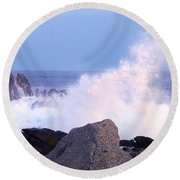 Drama Of The Rocky Shore Round Beach Towel