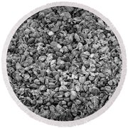 Dramatic Black And White Petals On Stones Round Beach Towel