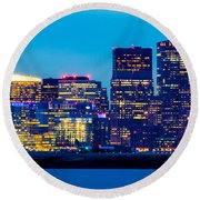 Dramatic Boston Skyline  Round Beach Towel