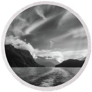 Dramatic Clouds And Alpine Scenery At Lake Manapouri  Round Beach Towel