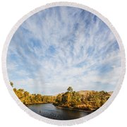 Dramatic Clouds Over Boise River In Boise Idaho Round Beach Towel