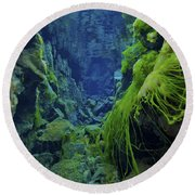 Dramatic Fluorescent Green Algae Round Beach Towel by Mathieu Meur