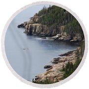 Dramatic Maine Coastline Round Beach Towel