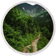 Dramatic Mountain Landscape With Distinctive Green Round Beach Towel