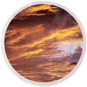 Dramatic Orange Sunset Round Beach Towel