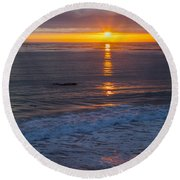Dramatic Ocean Reflection Of Color Round Beach Towel