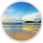 Dramatic Scene Of Sunset On The Beach Round Beach Towel