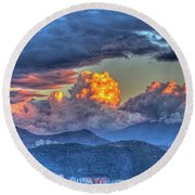 Dramatic Sky And Clouds Round Beach Towel
