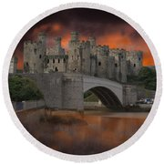Dramatic Sky Over Castell Conwy Round Beach Towel