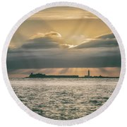 Dramatic Sky Over Hurst Castle Round Beach Towel