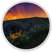 Dramatic Spring Sunset In Boise Idaho Usa Round Beach Towel