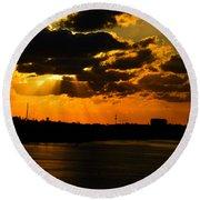 Dramatic Sunrise At Nassau Round Beach Towel