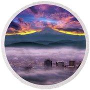 Dramatic Sunrise Over Foggy Downtown Portland Round Beach Towel