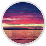 Dramatic Sunset Colors Over Birch Bay Round Beach Towel