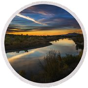 Dramatic Sunset Over Boise River Boise Idaho Round Beach Towel
