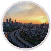 Dramatic Sunset Over Kuala Lumpur City Skyline Round Beach Towel