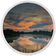 Dramatic Sunset Over The Misty River Round Beach Towel